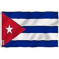 Bandera de Cuba Anley Fly Breeze de 3x5 pies - Color vivo y resistente a la decoloración UV - Encabezado de lona y doble costura - Banderas nacionales cubanas Poliéster con ojales de latón 3 X 5 Ft