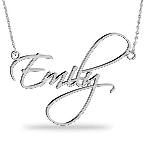 Custom Sterling Silver Name Necklace Personalized Script Nameplate Jewelry Gift for Women