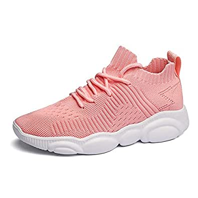 Kids Sport Shoes Boys Girls Running Tennis Athletic Children Walking Gym Sneakers Lightweight Mesh Pink 36
