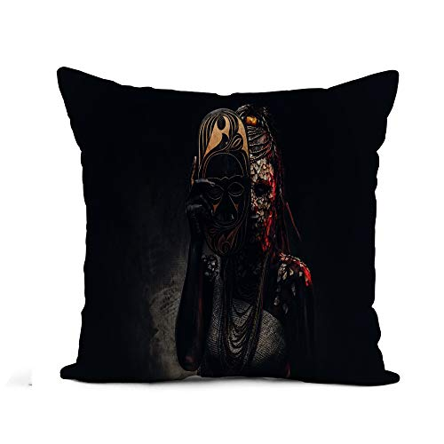 Scary Real Tribal Warrior Costumes - Awowee Flax Throw Pillow Cover Portrait