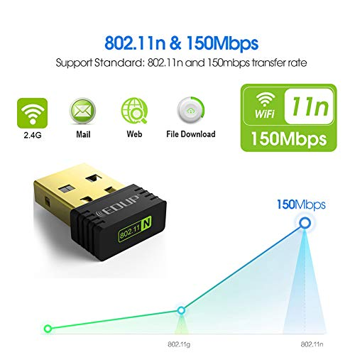 - DZSF Mini USB Wireless WiFi Adapter 150Mbps Wi-Fi Receiver 802.11N USB Ethernet Adapter Network Card Support for PC Laptop