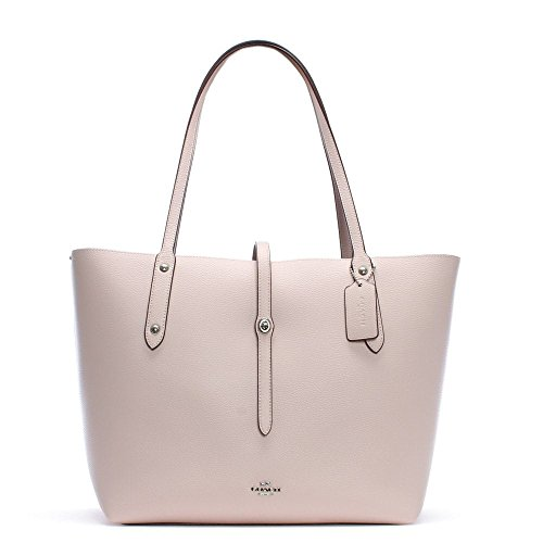 COACH Women's Polished Pebbled Leather Market Tote Sv/Ice Pink One ()
