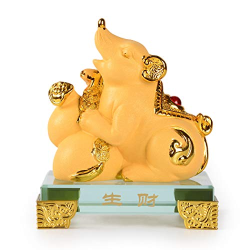 PopTop Brass Golden Resin Feng Shui Statue Mouse/Rat Home Office Table Top Decor Chinese Zodiac Figurine Gift Collection PTZY100