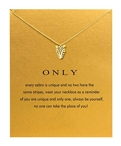 Hundred River Zebra Necklace Unique Necklace Only Necklace with Message Card Gift Card (Zebra)