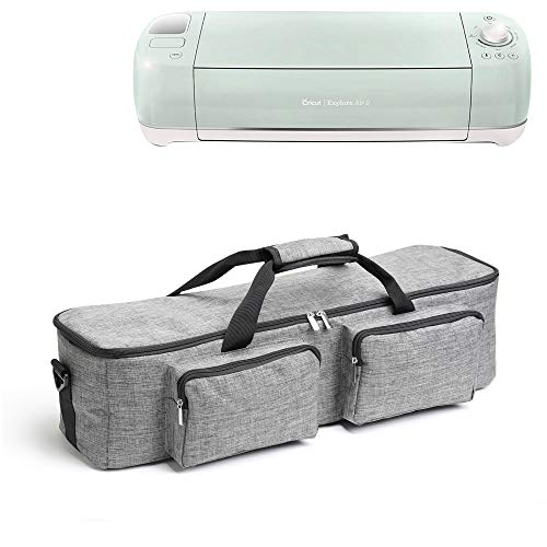 Mardili Thick Carrying Bag Tote Travel Bag Accessories Storage Bag with Seperate Compartment for Cricut Explore Air and Maker Cricut Explore Air 2, Silhouette Cameo 3, Cricut Maker, Grey (Best Laptop For Silhouette Cameo 3)
