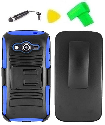 Belt Blue Clip Faceplate (Belt Clip Holster w Kickstand Heavy Duty Hybrid Phone Cover Case Cell Phone Accessory + Extreme Band + Yellow Pry Tool for Samsung Galaxy Avant SM-G386T SM-G386 (Belt Clip Holster Black/Blue))