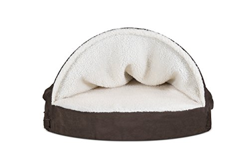 Furhaven Pet Dog Bed | Memory Foam Round Faux Sheepskin Snuggery Burrow Pet Bed for Dogs & Cats, Espresso, 35-Inch by Furhaven Pet (Image #4)