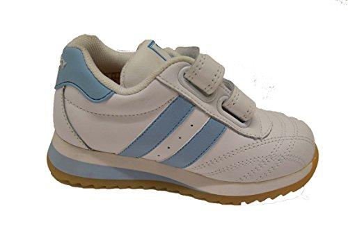 Pablosky 217654 - Deportivo de piel para niña con velcros. Color blanco y celeste