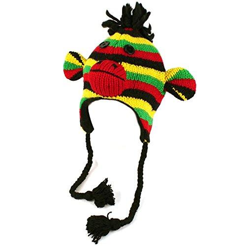 Rasta Hat Sock Monkey Animal Fleece Lined Earflaps Adult Child Ski Cap