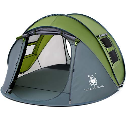 HUI LINGYANG 4 Person Easy Pop Up Tent,9.5'X6.6'X52'',Waterproof, Automatic Setup,2 Doors-Instant Family Tents for Camping, Hiking & Traveling