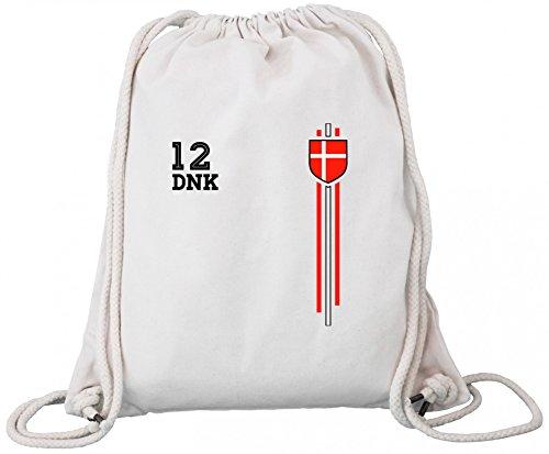 Denmark Soccer World Cup Fussball WM Fanfest Gruppen Premium Bio Baumwoll Turnbeutel Rucksack Stanley Stella Streifen Trikot Dänemark Natural tpSujQJzD