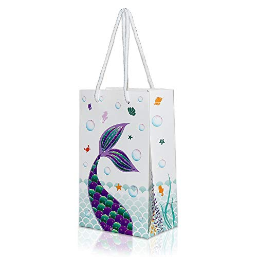 WERNNSAI Mermaid Party Supplies - 16 PCS Party Bags for Girls Treats Bags Storage Gift Portable Paper Goodies Bags for Kids Birthday Wedding Baby Shower Pool Party Favors