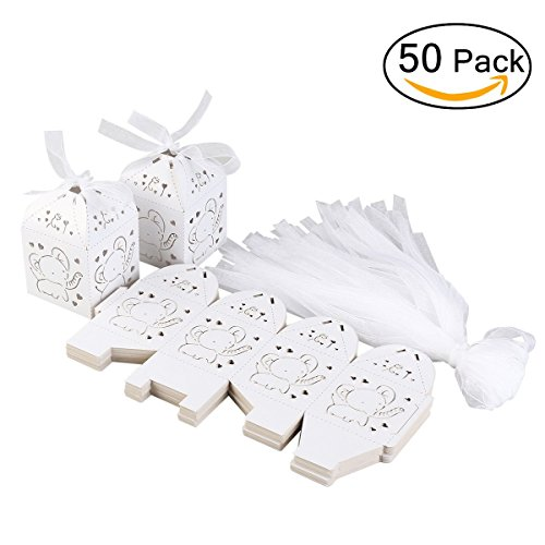 Tinksky 50pcs Hollow Out Elephant Pattern Candy Boxes Gift Bags Baby Shower Wedding Favors -