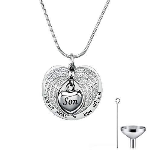 CAT EYE JEWELS Angel Wing Urn Necklace Heart Cremation Memorial Keepsake with Funnel Kit WH-S