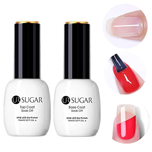 UR SUGAR 15ml Base Coat No Wipe Top Coat Set for UV LED Gel Nail Polish LED Nail Lamp Big Capacity New Upgraded Formula Long-Lasting Shiny Finish -