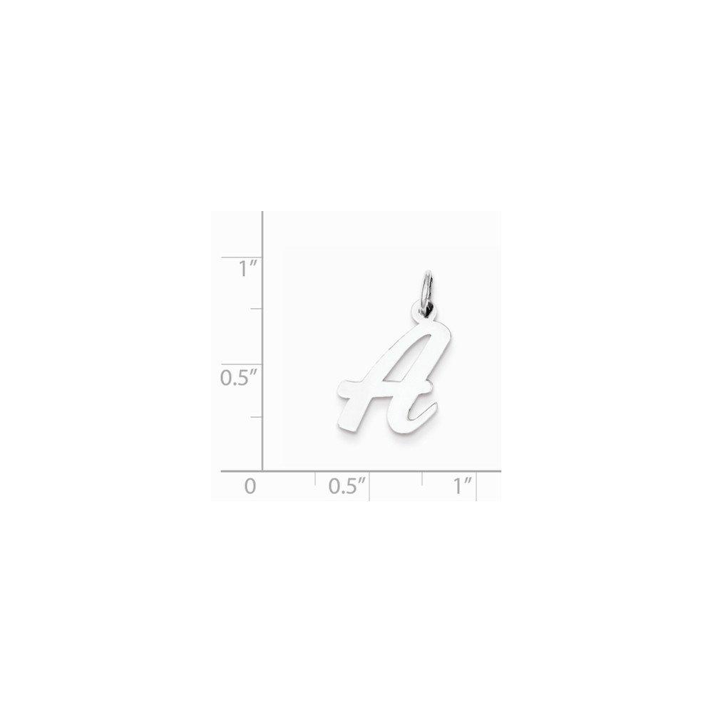 Mireval Sterling Silver Medium Script Initial A Charm 18 x 11mm