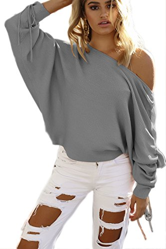 La Mujer Casual De Manga Larga Acanalada Boatneck Loose Knit Cardigan Sweater Grey