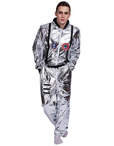 Space Suit Halloween Costume (EraSpooky Men's Astronaut Spaceman Costume(Silver,)