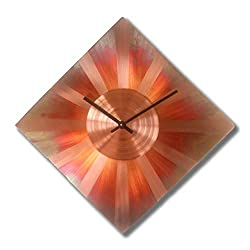 Sunny Copper Diamond Rhombus Wall Clock 17-inch Silent Non Ticking for Home/Office / Kitchen/Bedroom / Living Room