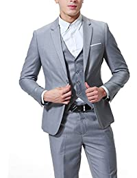 Cloud Style Men's 3-Piece Suit 2 Buttons Slim Fit Solid Color Jacket Smart Wedding Formal Suit