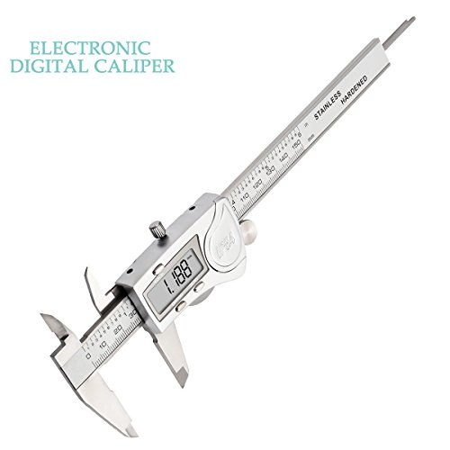 Digital Caliper, LIUMY Professional 6''/150mm Electronic Digital Vernier Caliper with LCD Screen, IP54 Water Resistant and Inches and Metric Easy for Measurement Work silver white