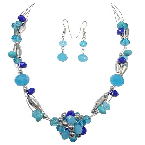 Beaded Ball Illusion Wire Lightweight Necklace and Dangle Earring Set (Blue -