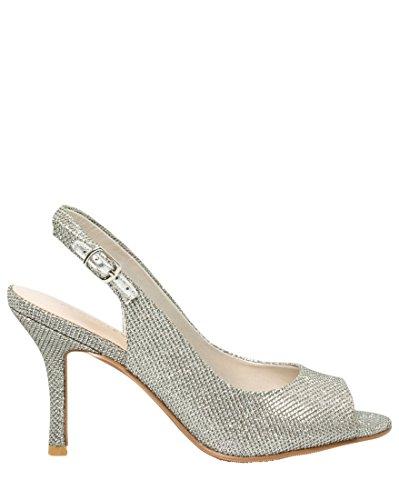 Le Château Womens Peep Toe Glitter Pump Argento