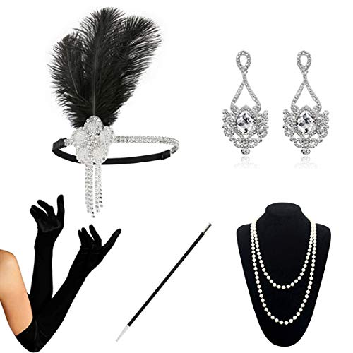 HAMIST 1920s Accessories Set Flapper Costume for Women Headband Gloves Cigarette Holder Necklace (1920Set5-5852)