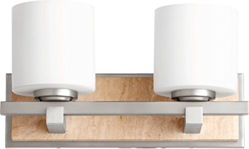 Quorum-Two Light Satin Nickel Satin Opal Glass Wall Light-5670-2-65