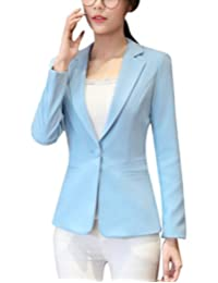 MFrannie Women Notch Lapel One Button Lined Slim Fit Blazer Jacket