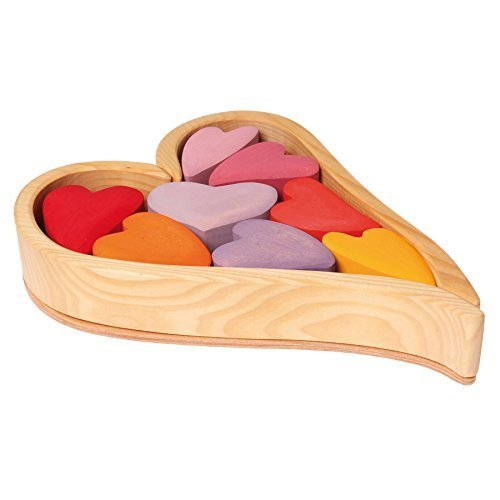 Grimm's Wooden Heart Blocks Building & Stacking Play Set, Red Hearts