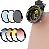 Apexel 2020 Newly Phone Camera Graduated Color Filter Accessory Kit - Adjustable Blue/Orange/Yellow/Red Color Lens, Star…