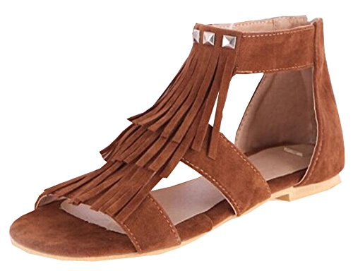 color new women flat summer of rivets sandals comfortable Sen Department camel students tassel pt7q7w
