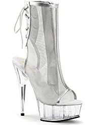 Summitfashions Womens Alluring Peep Toe Silver Mesh Lace Up Ankle Boots with 6 Clear Heels