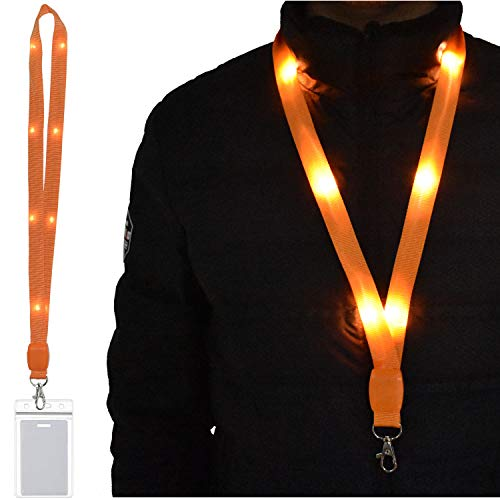 LED Light Up Flashing Lanyard Keychain Holder Keyring Neck Straps Band Holder Necklace Make You Being Seen and Charming at Night for ID Cards Badges Business ID Keys Office Worker (1 Pack-Orange) -