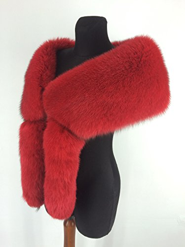 (Finland Fox Fur Stole 55' Saga Furs Boa Tails as Wristbands Red)