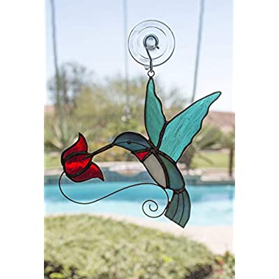 Beautiful Copper & Stained Glass Hummingbird Sun Catcher with Red Flowers for Hummer Lovers! : Garden & Outdoor