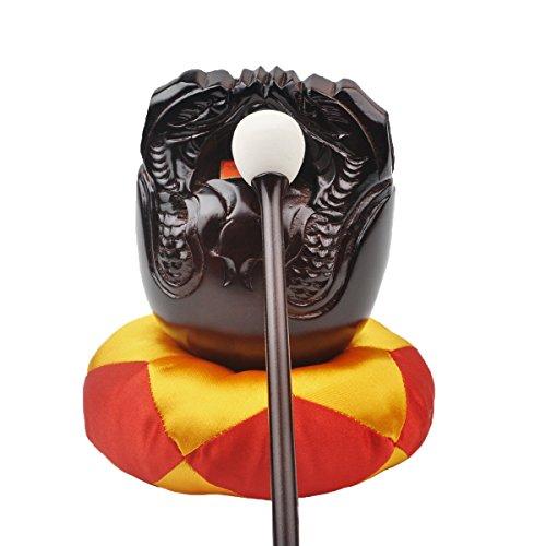Buddhist Camphorwood Wooden Fish Temple Block Zen Drum with Mat 3.5 inch