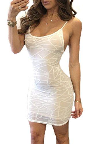 Mujeres Sin Mangas Vestido Bodycon Club Impreso Slip De Malla White