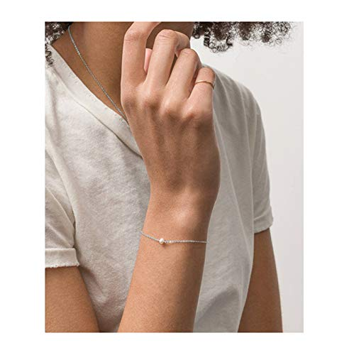 Fremttly Womens Minimal Jewelry Gift Dainty Tiny Freshwater Pearl Bracelet 14K Gold Fill/Rose Gold/Silver Plated Handmade - Pearl Dainty