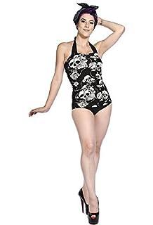 Diseño de rosas de corazón con texto en diseño de calavera alambre de Espino para vallar Bañador para body de maillot de 5Wt3wfJb