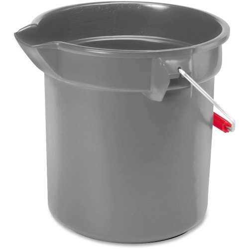 Utility Bucket Round - Rubbermaid Brute Round Utility Bucket - 2.50 gal - Plastic - 10.3quot;10.5quot; - Gray