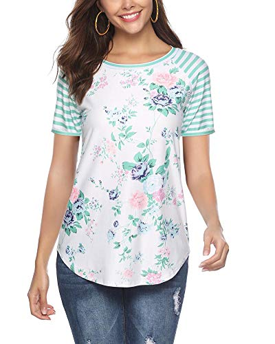 KUFV Women's Crew Neck Striped Short Sleeve Tops Floral Print Pullover Summer Blouses T Shirts Light - Petite Knit Top
