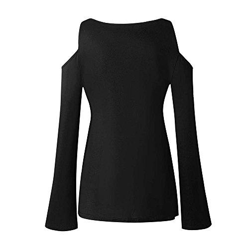 Mecohe Lunghe Top Spalle Bendare Elegante Grande A Autunno Camicetta Size Donna Nero T Blusa Scoperte Da Maniche Solido Donna Casual Shirt vrwvOX