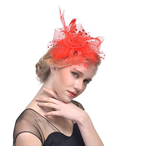 Party Hat For Women,Caopixx Ladies Flower Mesh Ribbons Feathers Headband Cocktail Tea Wedding Headwear (Red)