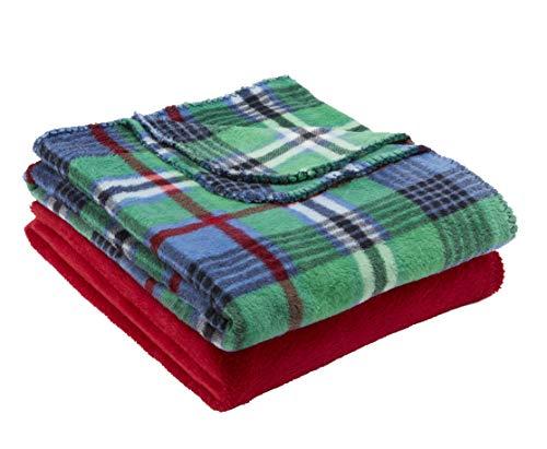 (Mainstays Fleece Plush Throw Blanket, Set of 2, Green Plaid)