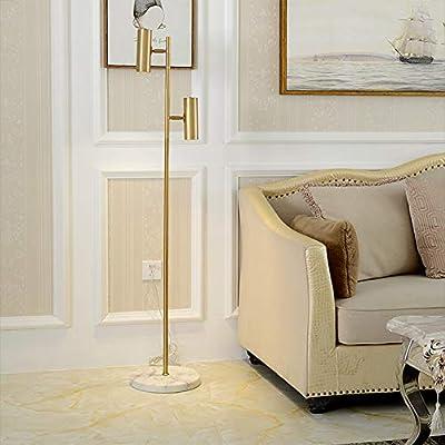Hsyile Lighting KU300211 Cozy Elegant Modern Creative Bedroom & Living Room Floor Lamp,Tall Pole Uplight for Office - with Bulb - Brass Finish - Adjustable Tree Floor Lamp with 2 Bulbs