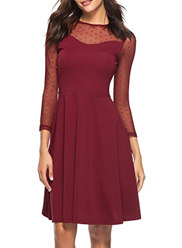 Burgundy Illusion - Berydress Women's Elegant Mesh Illusion Solid A-line Patchwork Casual Skater Dress with Sleeves (XL, 6074-Burgundy)