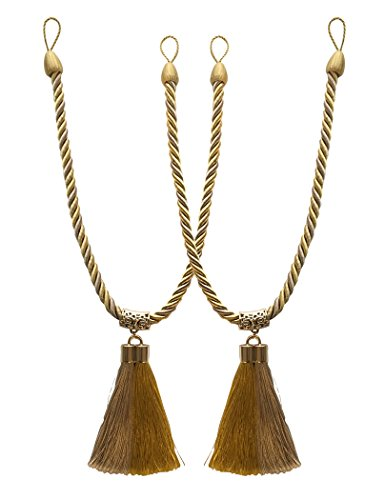 Home Queen Decorative Tassel Rope Tie Backs for Extra Large Window Curtain, Hand Knitting Buckle Cord Drapery Holdbacks , Set of 2, Beige & Gold