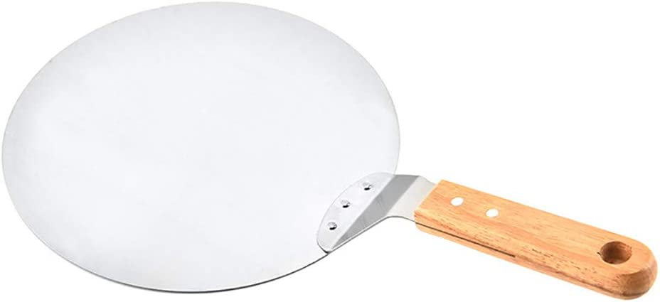 scgtpapadc Round Wooden Handle Stainless Steel Cake Pizza Shovel Home Kitchen Baking Tool Silver